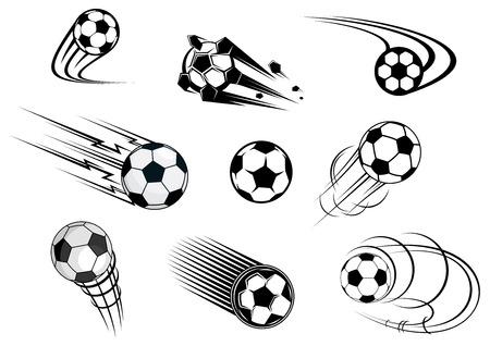 Fflying soccer balls set with motion trails for sports emblem and logo design