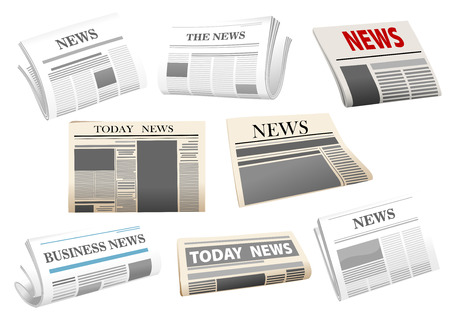 Illustration for Newspaper icons with headers isolated on white for media design - Royalty Free Image