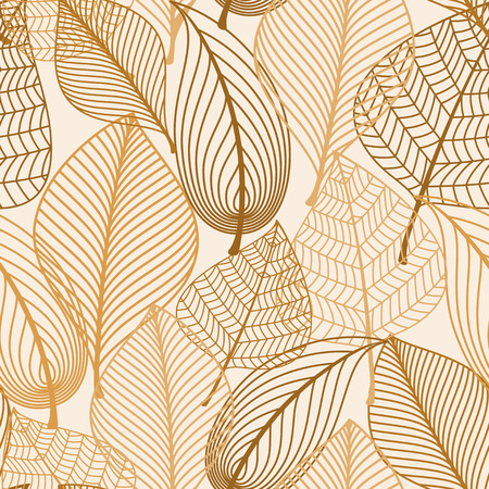 Illustration for Atumnal seamless pattern with brown leaves in silhouette style for background, wallpaper and textile design - Royalty Free Image
