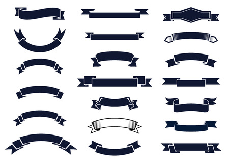 Illustration pour Large set of blank classic vintage ribbon banners for design elements, vector illustration - image libre de droit