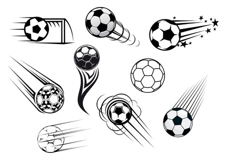 Flying soccer and football balls with motions trails for sports club or tournament  design
