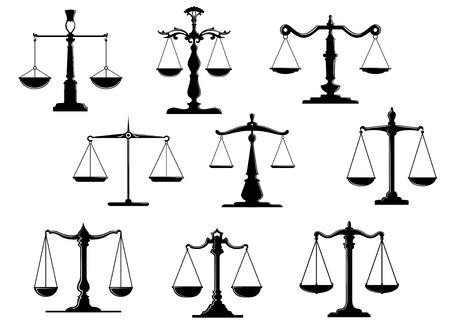 Illustration pour Black law scale icons with balance position isolated on white background - image libre de droit