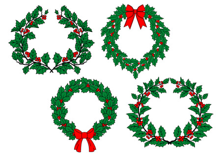 Illustration pour Christmas traditional holly wreaths set with red berries, ribbon bows isolated on white background for holiday decoration design - image libre de droit