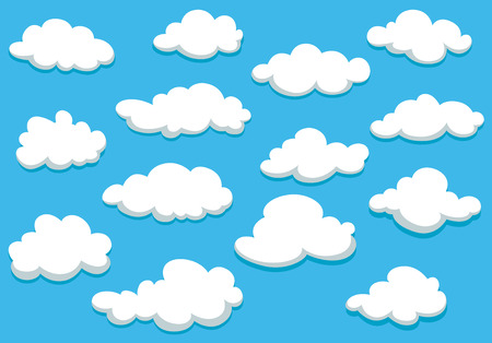 Illustration pour White fluffy clouds on spring blue sky in cartoon style for background or wallpaper design - image libre de droit