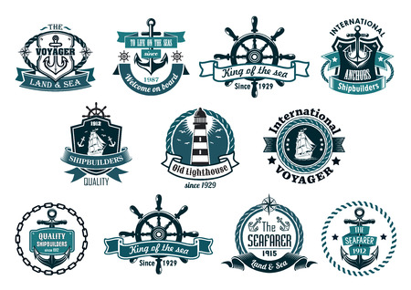 Illustration pour Blue marine labels, logo or emblems set with anchors, wheels, sailboats, lighthouse, ribbons, ropes, chains and stars - image libre de droit