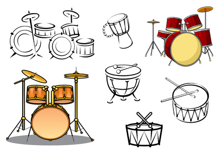 Illustration pour Drum plants, timpani, snare drum, bass drum and congas in cartoon and sketch style for percussion and music design - image libre de droit