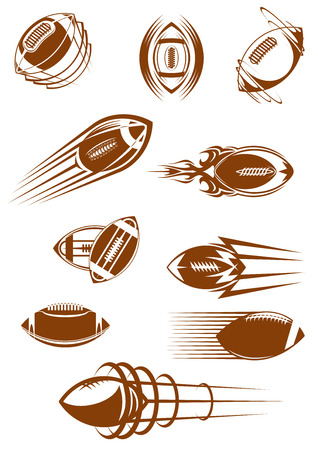 Illustration pour Brown icons of american football or rugby leather balls whirling and flying through the air with motion trails for sporting design - image libre de droit