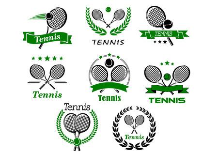 Illustration pour Tennis emblems, banners, symbols and icons with rackets, balls, wreaths, ribbons for sport logo or tournament design - image libre de droit