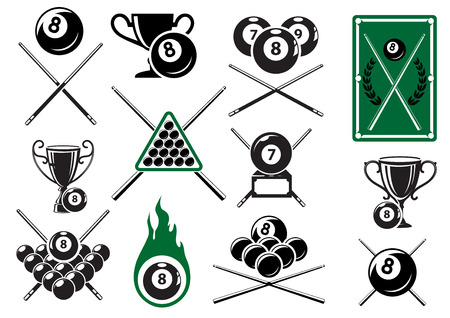 Billiard, pool and snooker sports emblems with crossed cues, billiard balls, trophy cups and table