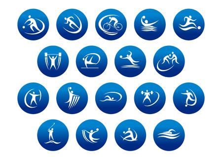 Foto de Athletics and team sport icons or symbols for sporting and fitness logo design - Imagen libre de derechos