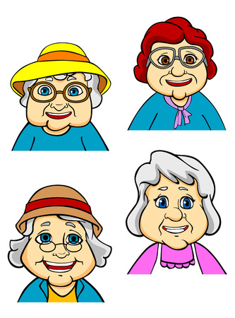 Illustration for Cartoon happy old women and seniors characters on white background - Royalty Free Image
