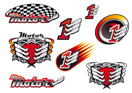 Illustration pour Racing and motocross emblems or symbols with checkered flags, number one and exhaust - image libre de droit