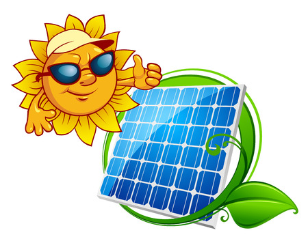 Ilustración de Solar energy panel bordered green stem with leaves and cartoon smiling sun in sunglasses - Imagen libre de derechos