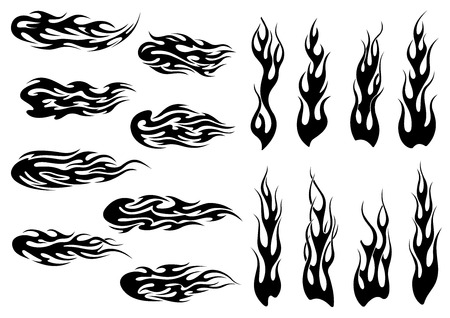 Illustration for Black fire flames in tribal style with long swirls for tattoo and vehicle decoration design - Royalty Free Image