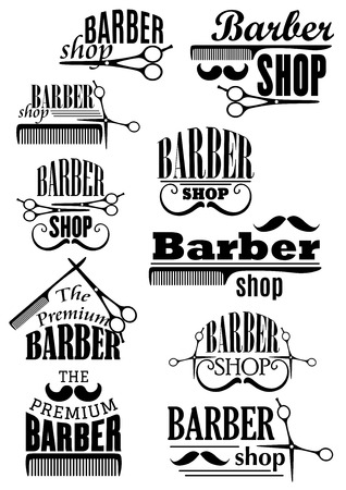 Illustration pour Barber shop black emblems  with lush and curled mustache, scissors and combs in retro style for haircut and shave salon design - image libre de droit