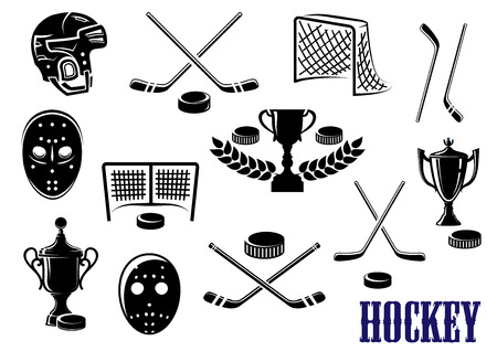 Illustration pour Ice hockey emblem design elements with hockey pucks, masks, helmet, crossed sticks, gates and trophy cups decorated laurel wreath - image libre de droit