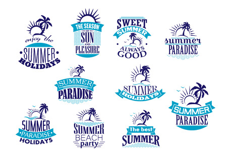 Illustration pour Summer holidays emblems and logo in blue with beach, sunrise, palm tree and wave for travel or leisure design - image libre de droit