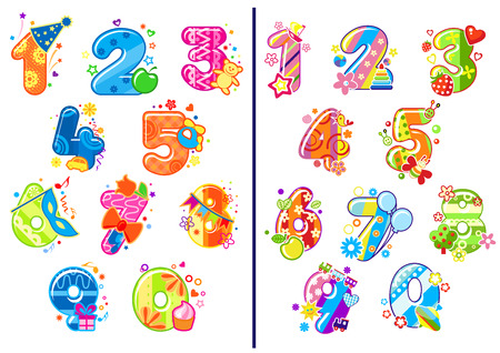 Ilustración de Colorful cartoon glossy numbers and digits adorned toys, flowers, balloons, fruits and party decoration elements for birthday anniversary or education design - Imagen libre de derechos