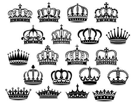 Illustration for Royal medieval heraldic crowns set in black and white suitable for heraldry, monarchy and vintage concepts - Royalty Free Image