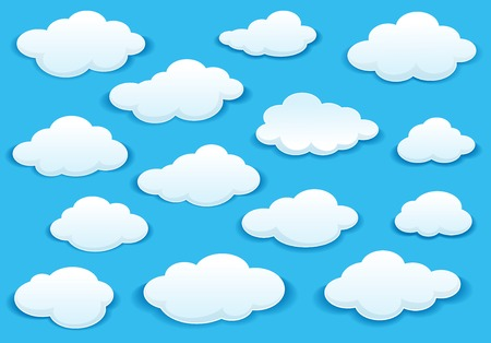 Illustration for White fluffy cloud icons on a turquoise blue sky in different shapes with a drop shadow - Royalty Free Image