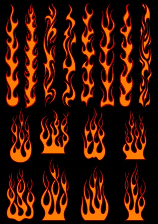Illustration for Various fiery vector tribal flames in colorful orange on black including long trails suitable as depicting speed - Royalty Free Image