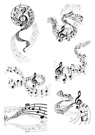 Ilustración de Black and white musical notes and clefs on swirling staves in various flowing wave shapes - Imagen libre de derechos