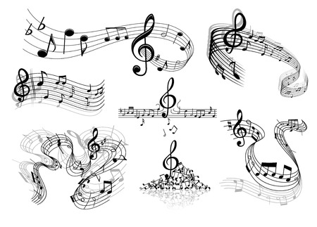Illustration for Abstract sheet music design elements depicting music staves with treble clefs, notes, clef signs with shadows and reflections isolated on white background - Royalty Free Image