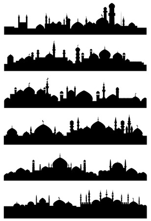 Ilustración de Black silhouettes of muslim cityscape shoving mosques, minarets with crescents on the tops of dome roofs and castles with high towers for traveling or religious design - Imagen libre de derechos