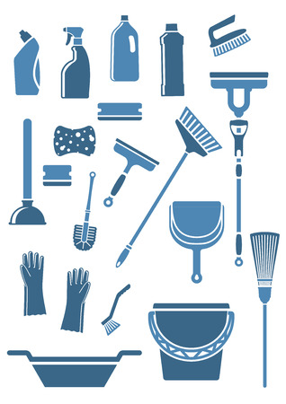Illustration pour Domestic tools and supplies for cleaning including mop, broom, bucket, brushes, gloves, sponges, dustpan, plunger, squeegee and detergent bottles in blue colors - image libre de droit
