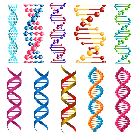 Illustration pour Colorful DNA molecules showing the helical structure or twisted spiral decorative patterns in seamless vertical patterns for borders and frames - image libre de droit