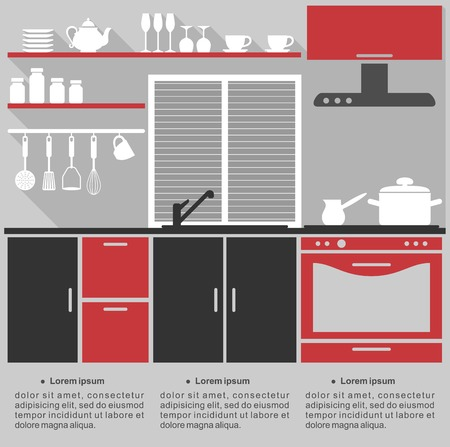 Illustration pour Flat infographic template for a kitchen interior design with a stylish red, grey and black kitchen with fitted cabinets and appliances - image libre de droit