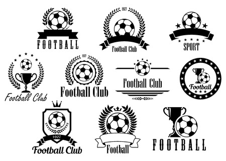 Creative football or soccer black and white emblems, icons, symbols and logos with ball, trophy, cup, wreath, ribbon, banner
