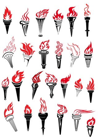 Illustration for Ancient torches with red hot fire flames in outline sketch style for sporting competition or championship design - Royalty Free Image