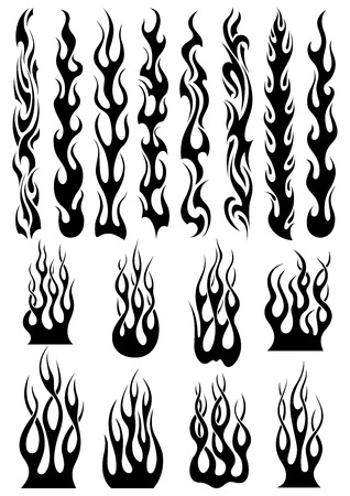 Illustration for Black tribal fire flames set for tattoo, vinyl stickers and decoration design - Royalty Free Image