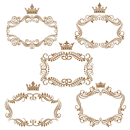 Illustration for Royal vintage brown borders and frames emphasizing the crown on top isolated on white background - Royalty Free Image