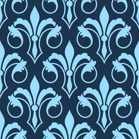 Illustration pour Stylized scrolling seamless Fleur de Lys pattern with a repeat motif in shades of blue in square format for wallpaper, wrapping paper or textile design - image libre de droit