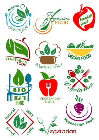 Ilustración de Vegetarian health food design elements including abstract vegan dishes with vegetables, fruits and herbs suitable for healthy nutrition concept design - Imagen libre de derechos