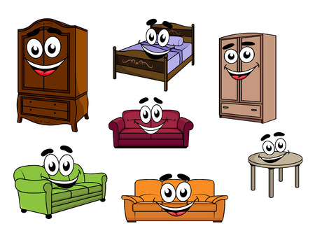Ilustración de Happy smiling cartoon furniture characters depicting colorful upholstered sofas, wooden cupboards and table, bed with carved headboard and bedding for childish design - Imagen libre de derechos