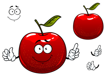 Ilustración de Fresh crunchy red apple fruit cartoon character with glossy peel, green leaf and cheerful smile including second variant with separated elements - Imagen libre de derechos