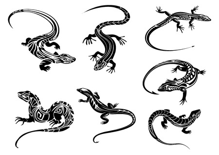 Illustration for Black lizards reptiles with long curved tails decorated geometric ornament in tribal style suitable for tattoo or mascot design - Royalty Free Image