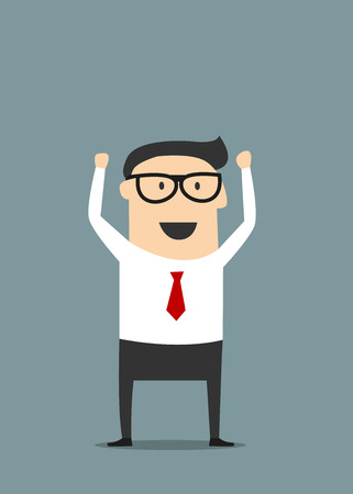 Illustration pour Excited  cartoon businessman in glasses and red tie raising hand with clenched fists in flat style suited for success or good news concept design - image libre de droit