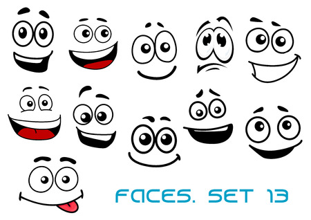 Ilustración de Cute cartoon emotional faces with toothy, shy, teasing and sad smiles isolated on white background for comics or avatar design - Imagen libre de derechos