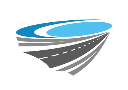 Illustration pour Road or highway color icon near blue lake for transportation, travel and navigation design - image libre de droit