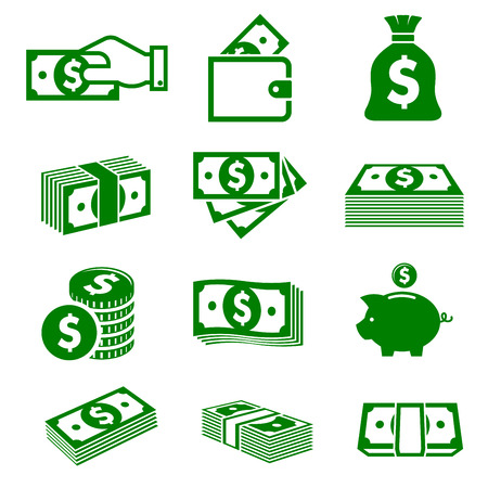Illustration pour Green paper money and coins icons isolated on white background for business nad commerce design - image libre de droit