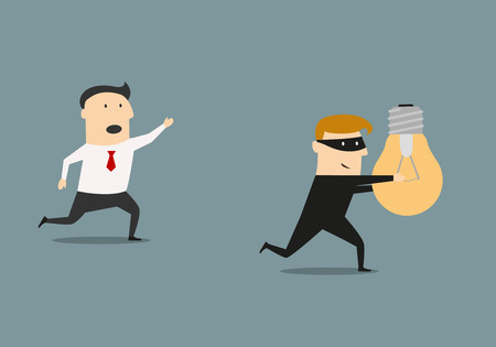 Illustrazione per A thief in a black costume and mask stealing a light bulb idea from businessman, for intellectual property or business piracy concept design - Immagini Royalty Free
