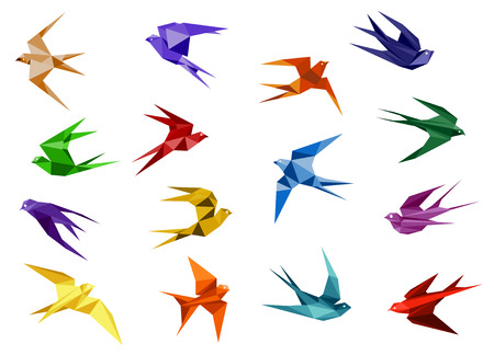 Illustration pour Colorful origami paper swallow birds in flight isolated on white background for logo or emblem design template - image libre de droit