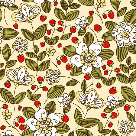 Ilustración de Colorful strawberry floral seamless pattern with white flowers and red berries on trailing vines in pastel muted shades - Imagen libre de derechos
