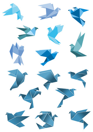 Ilustración de Origami paper stylized blue flying pigeon and dove birds set, isolated on white, for peace and freedom concept design - Imagen libre de derechos