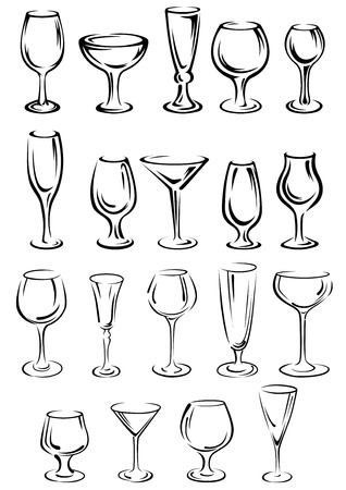 Illustration pour Doodle glassware and dishware sketches set with black and white outlines of a variety of different shaped glasses - image libre de droit