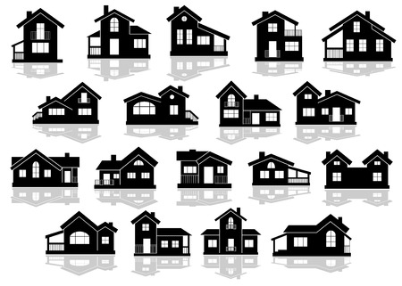 Illustration pour Black silhouettes of houses and cottages with reflections on white background, for real estate design - image libre de droit